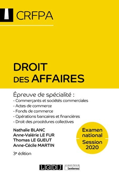 Droit des affaires - CRFPA - Examen national Session 2020