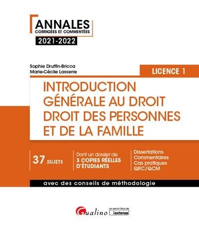 Introduction générale au droit et droit des personnes et de la famille - L1
