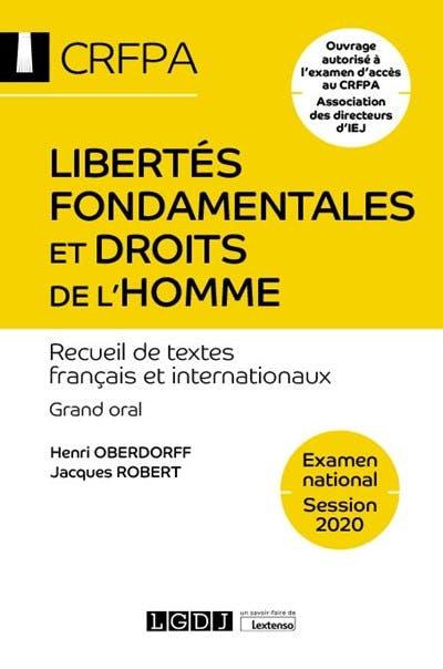 Libertés fondamentales et droits de l'homme - CRFPA - Examen national Session 2020