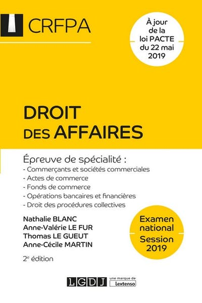 Droit des affaires - CRFPA - Examen national Session 2019