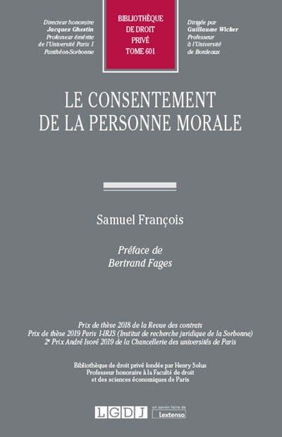 Le consentement de la personne morale